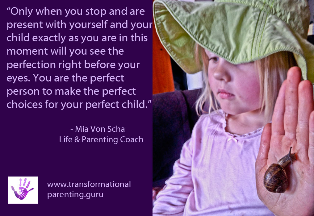 Stop and be present with yourself and your child so that you can see the perfection.