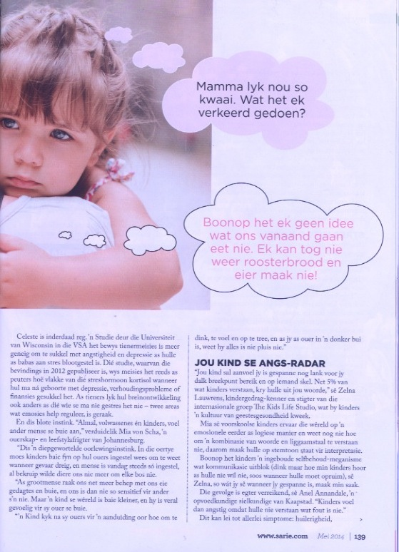 Mia Von Scha speaks to Sarie magazine about children and stress.