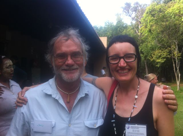 Louis Liebenberg and Mia Von Scha at an unschooling conference in Johannesburg, South Africa.
